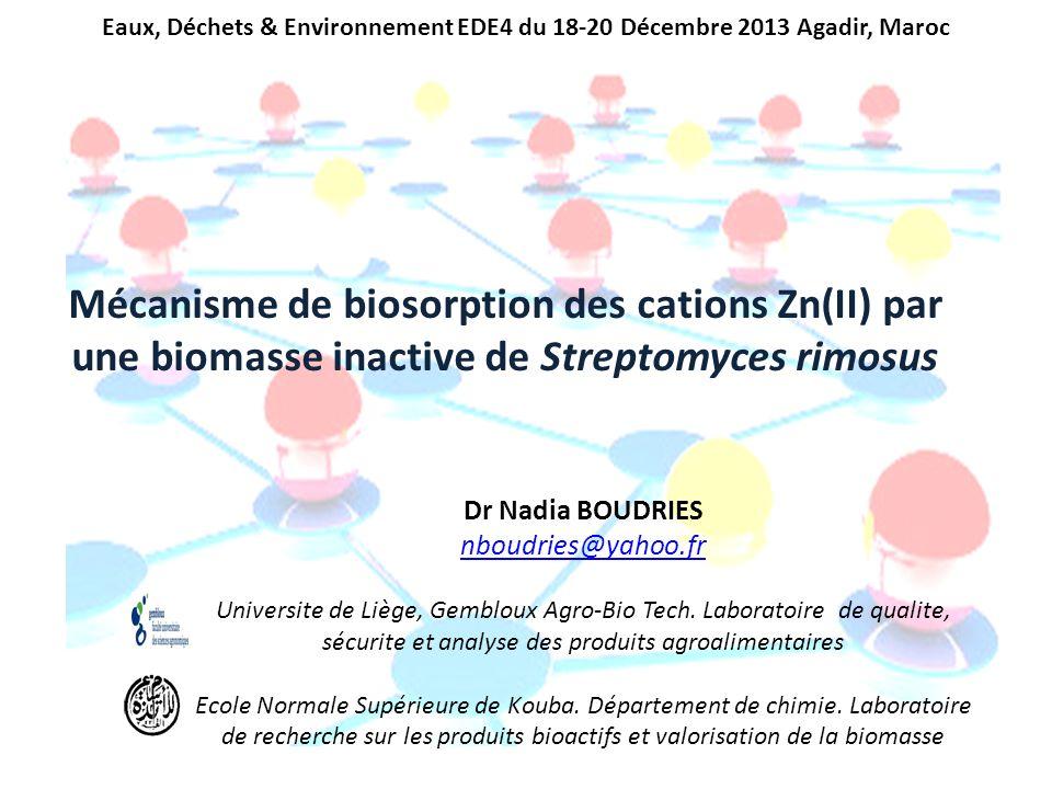 Dr Nadia BOUDRIES nboudries@yahoo.fr Universite de Liège, Gembloux Agro-Bio Tech. Laboratoire de qualite, sécurite et analyse des produits agroaliment