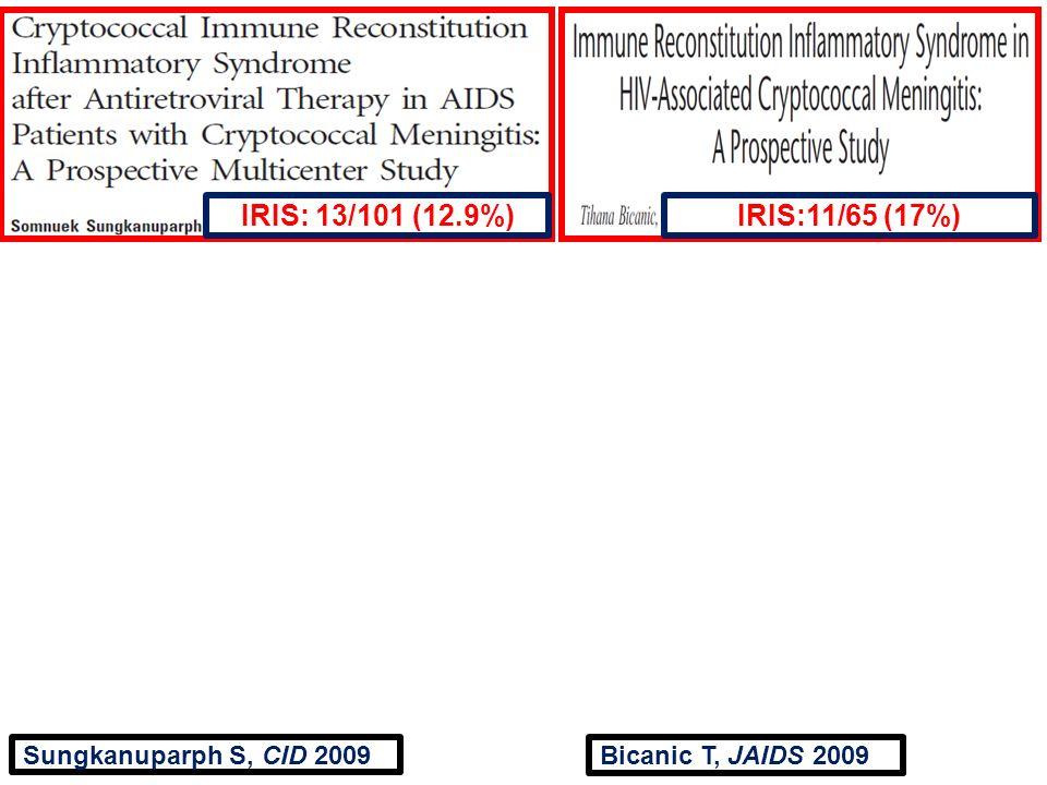 Sungkanuparph S, CID 2009 IRIS: 13/101 (12.9%)IRIS:11/65 (17%) Bicanic T, JAIDS 2009