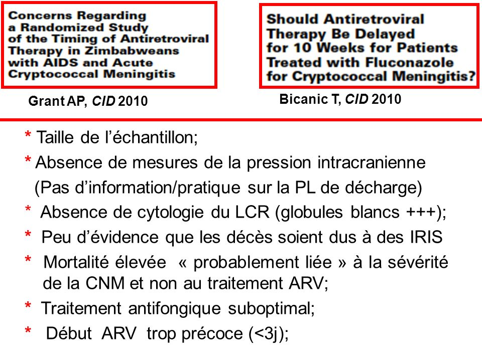 * Taille de léchantillon; * Absence de mesures de la pression intracranienne (Pas dinformation/pratique sur la PL de décharge) * Absence de cytologie