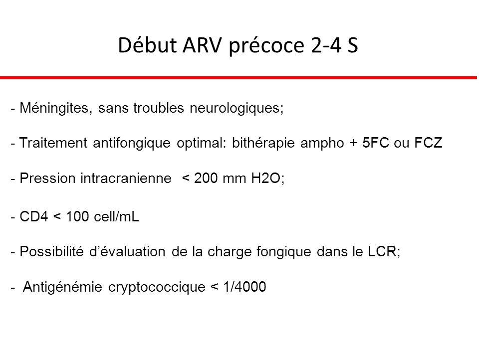 Début ARV précoce 2-4 S - Méningites, sans troubles neurologiques; - Traitement antifongique optimal: bithérapie ampho + 5FC ou FCZ - Pression intracranienne < 200 mm H2O; - CD4 < 100 cell/mL - Possibilité dévaluation de la charge fongique dans le LCR; - Antigénémie cryptococcique < 1/4000