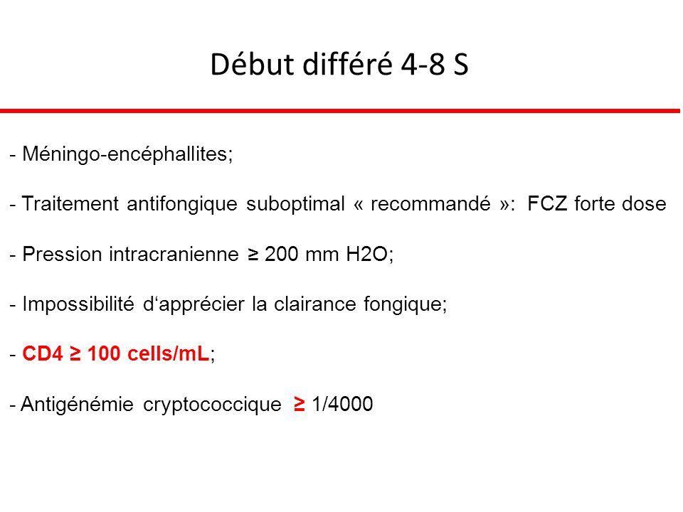Début différé 4-8 S - Méningo-encéphallites; - Traitement antifongique suboptimal « recommandé »: FCZ forte dose - Pression intracranienne 200 mm H2O; - Impossibilité dapprécier la clairance fongique; - CD4 100 cells/mL; - Antigénémie cryptococcique 1/4000