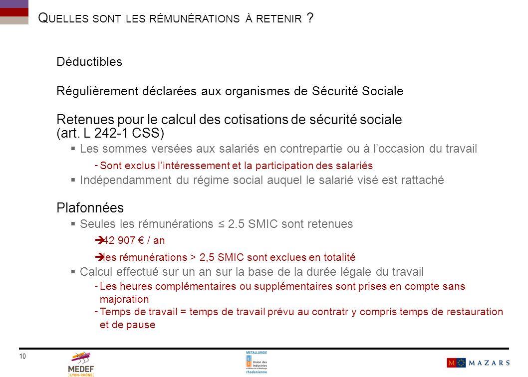 Déductibles Régulièrement déclarées aux organismes de Sécurité Sociale Retenues pour le calcul des cotisations de sécurité sociale (art. L 242-1 CSS)