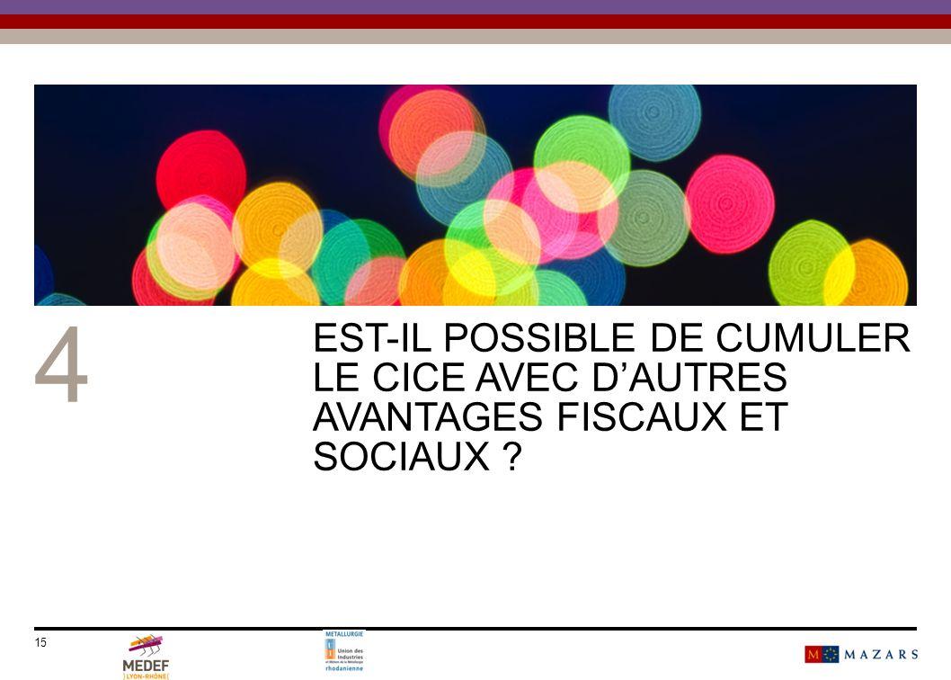 15 4 EST-IL POSSIBLE DE CUMULER LE CICE AVEC DAUTRES AVANTAGES FISCAUX ET SOCIAUX ?