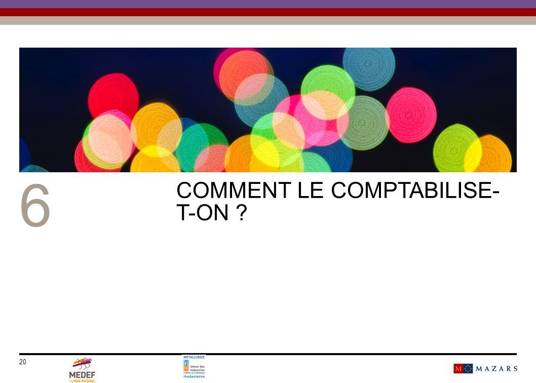 20 6 COMMENT LE COMPTABILISE- T-ON ?