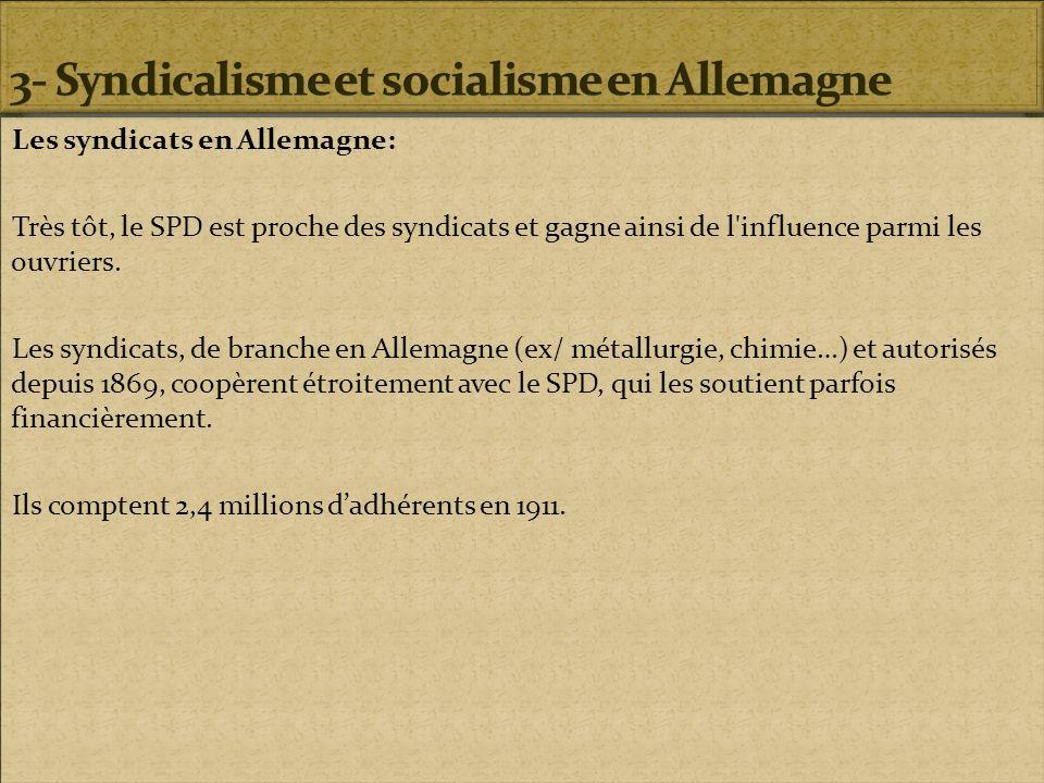 Les syndicats en Allemagne: Très tôt, le SPD est proche des syndicats et gagne ainsi de l'influence parmi les ouvriers. Les syndicats, de branche en A