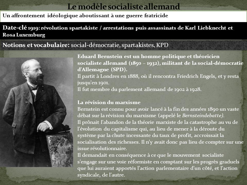 Un affrontement idéologique aboutissant à une guerre fratricide Eduard Bernstein est un homme politique et théoricien socialiste allemand (1850 – 1932