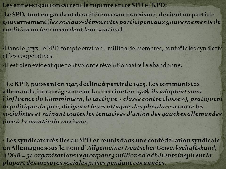 Les années 1920 consacrent la rupture entre SPD et KPD: Le SPD, tout en gardant des références au marxisme, devient un parti de gouvernement (les soci