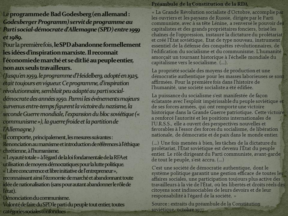 Préambule de la Constitution de la RDA « La Grande Révolution socialiste d'Octobre, accomplie par les ouvriers et les paysans de Russie, dirigée par l