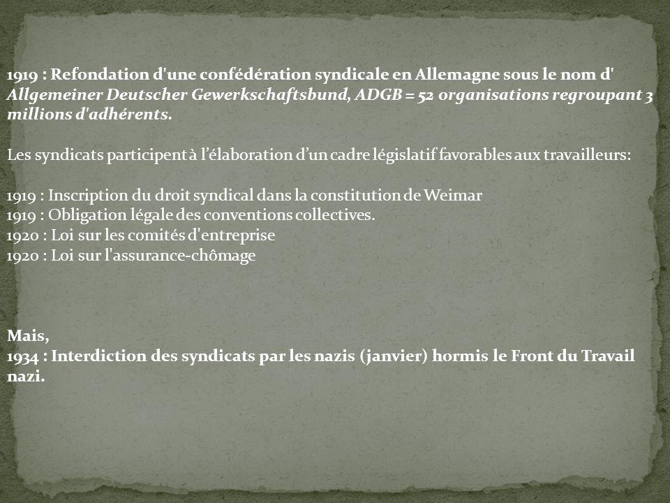 1919 : Refondation d'une confédération syndicale en Allemagne sous le nom d' Allgemeiner Deutscher Gewerkschaftsbund, ADGB = 52 organisations regroupa