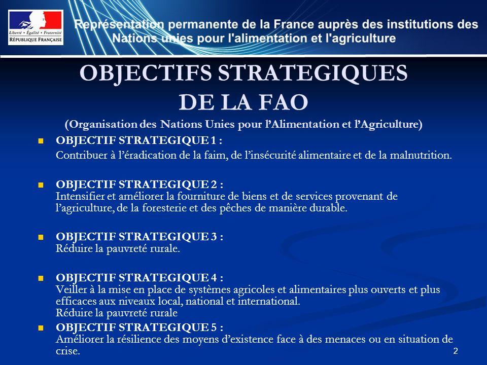 2 OBJECTIFS STRATEGIQUES DE LA FAO (Organisation des Nations Unies pour lAlimentation et lAgriculture) OBJECTIF STRATEGIQUE 1 : Contribuer à léradicat
