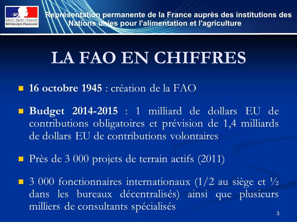 3 LA FAO EN CHIFFRES 16 octobre 1945 : création de la FAO Budget 2014-2015 : 1 milliard de dollars EU de contributions obligatoires et prévision de 1,