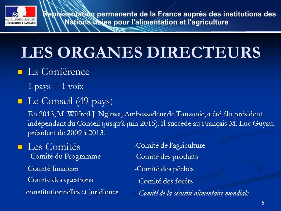 5 LES ORGANES DIRECTEURS La Conférence 1 pays = 1 voix Le Conseil (49 pays) En 2013, M. Wilfred J. Ngirwa, Ambassadeur de Tanzanie, a été élu présiden