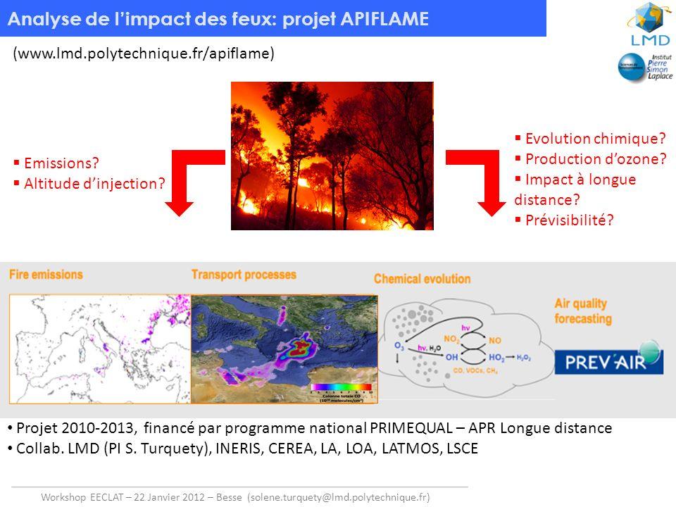 Workshop EECLAT – 22 Janvier 2012 – Besse (solene.turquety@lmd.polytechnique.fr) Analyse de limpact des feux: projet APIFLAME (www.lmd.polytechnique.f