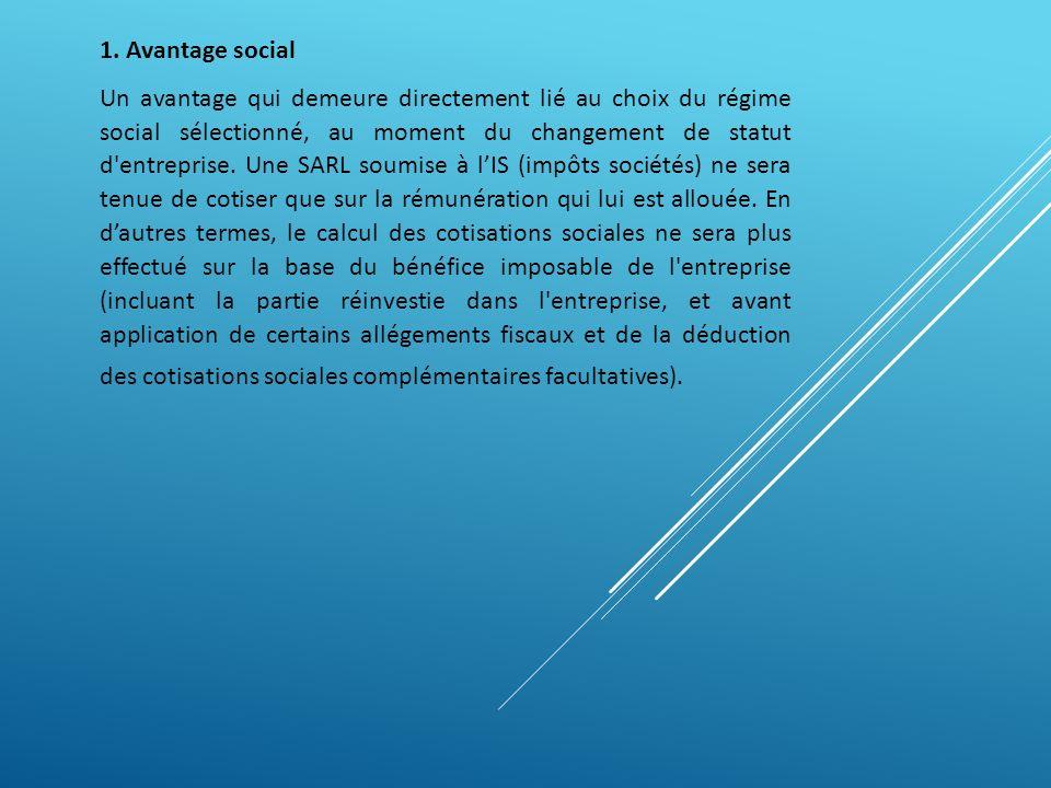 1. Avantage social Un avantage qui demeure directement lié au choix du régime social sélectionné, au moment du changement de statut d'entreprise. Une