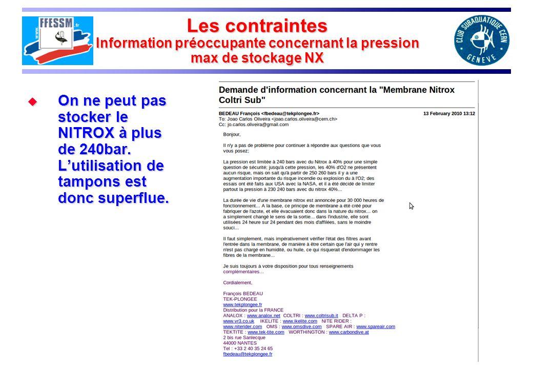 Les contraintes Information préoccupante concernant la pression max de stockage NX On ne peut pas stocker le NITROX à plus de 240bar.