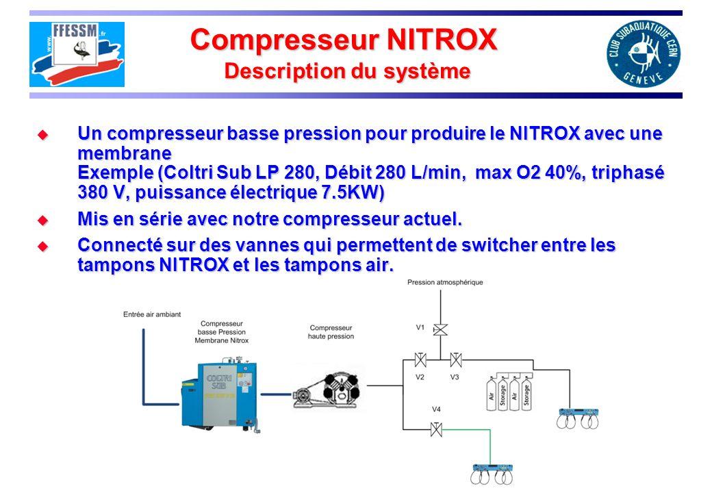 Compresseur NITROX Description du système Un compresseur basse pression pour produire le NITROX avec une membrane Exemple (Coltri Sub LP 280, Débit 280 L/min, max O2 40%, triphasé 380 V, puissance électrique 7.5KW) Un compresseur basse pression pour produire le NITROX avec une membrane Exemple (Coltri Sub LP 280, Débit 280 L/min, max O2 40%, triphasé 380 V, puissance électrique 7.5KW) Mis en série avec notre compresseur actuel.