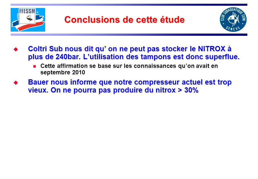 Conclusions de cette étude Coltri Sub nous dit qu on ne peut pas stocker le NITROX à plus de 240bar.