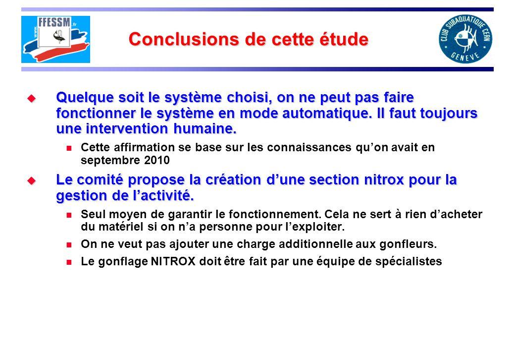Conclusions de cette étude Quelque soit le système choisi, on ne peut pas faire fonctionner le système en mode automatique.