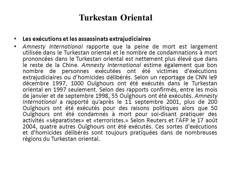 Turkestan Oriental Politique de sinisation Une campagne acharnée est menée pour affaiblir la langue Ouïghour et augmenter le niveau de Chinois parlé dans la région.