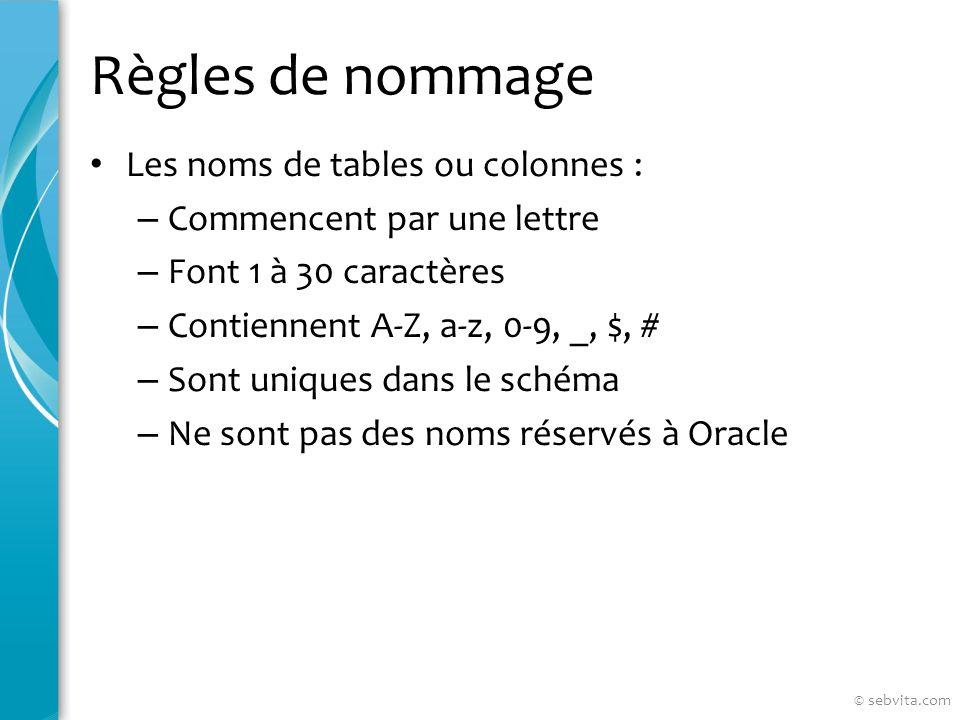 Règles de nommage Les noms de tables ou colonnes : – Commencent par une lettre – Font 1 à 30 caractères – Contiennent A-Z, a-z, 0-9, _, $, # – Sont uniques dans le schéma – Ne sont pas des noms réservés à Oracle © sebvita.com