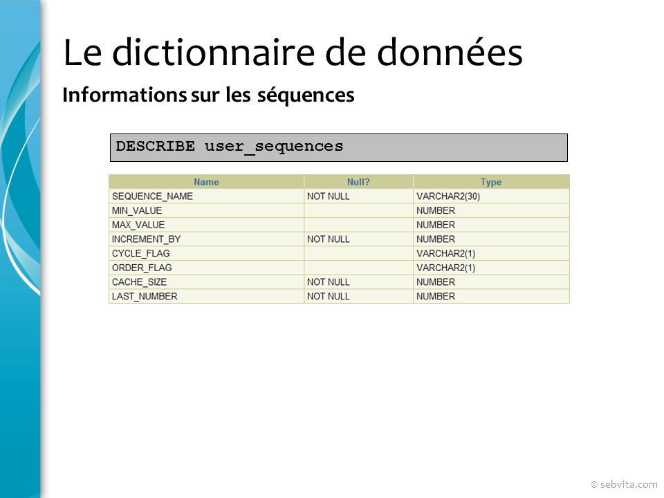 Le dictionnaire de données Informations sur les séquences DESCRIBE user_sequences © sebvita.com