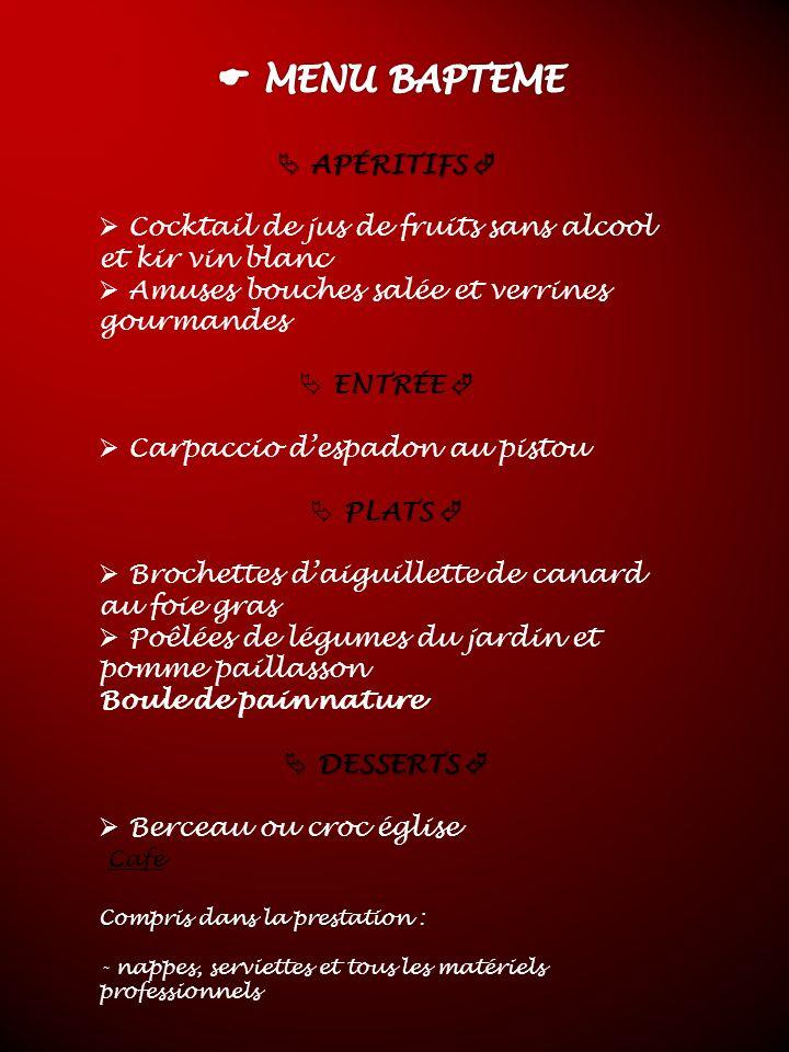 APÉRITIFS APÉRITIFS Cocktail de jus de fruits sans alcool et kir vin blanc Amuses bouches salée et verrines gourmandes ENTRÉE Carpaccio despadon au pi