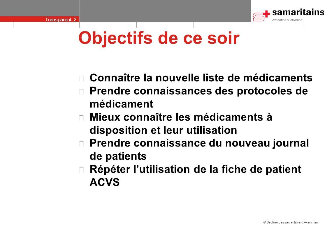 © Section des samaritains dAvenches Transparent 12 Protocole de médicament 1 2 3 4 5 6