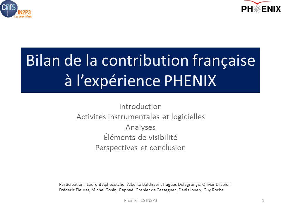 Bilan de la contribution française à lexpérience PHENIX Introduction Activités instrumentales et logicielles Analyses Éléments de visibilité Perspecti