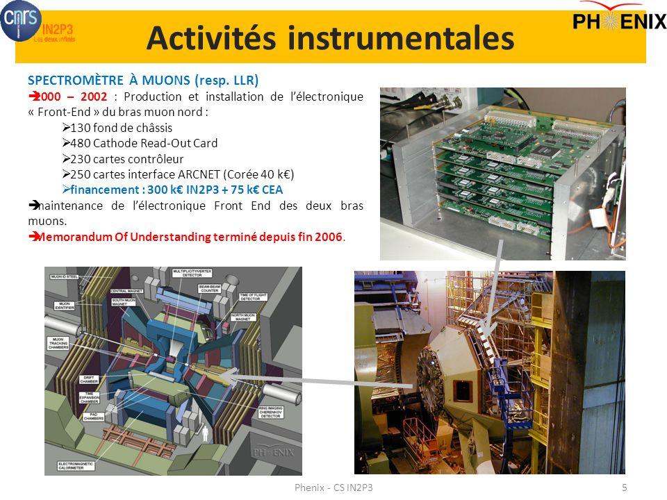 Activités instrumentales Phenix - CS IN2P35 SPECTROMÈTRE À MUONS (resp. LLR) 2000 – 2002 : Production et installation de lélectronique « Front-End » d