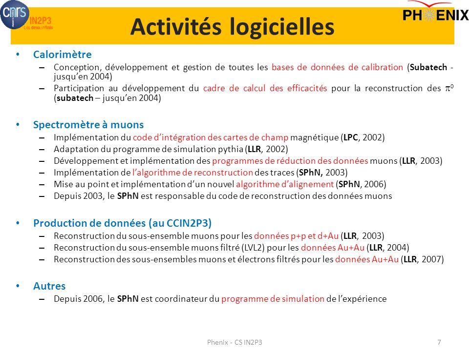 Activités logicielles Calorimètre – Conception, développement et gestion de toutes les bases de données de calibration (Subatech - jusquen 2004) – Par