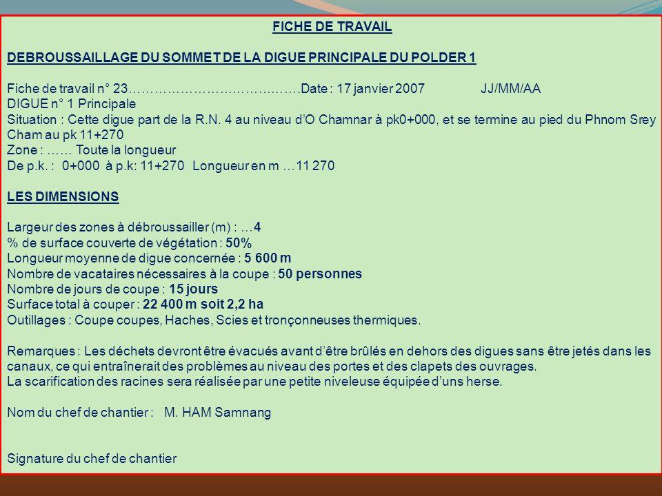 FICHE DE TRAVAIL DEBROUSSAILLAGE DU SOMMET DE LA DIGUE PRINCIPALE DU POLDER 1 Fiche de travail n° 23………………………………….Date : 17 janvier 2007 JJ/MM/AA DIGU