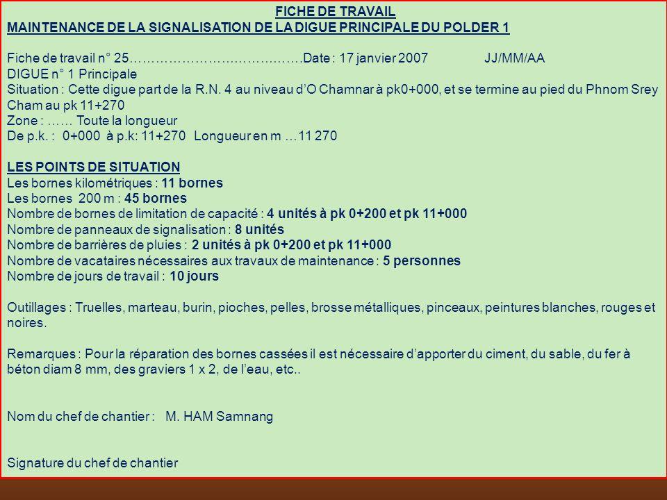 FICHE DE TRAVAIL MAINTENANCE DE LA SIGNALISATION DE LA DIGUE PRINCIPALE DU POLDER 1 Fiche de travail n° 25………………………………….Date : 17 janvier 2007 JJ/MM/A