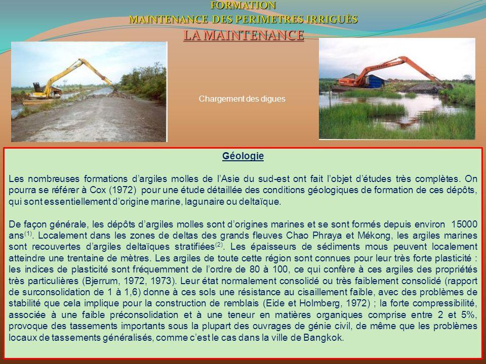 3FORMATION MAINTENANCE DES PERIMETRES IRRIGUÈS LA MAINTENANCE Chargement des digues Géologie Les nombreuses formations dargiles molles de lAsie du sud