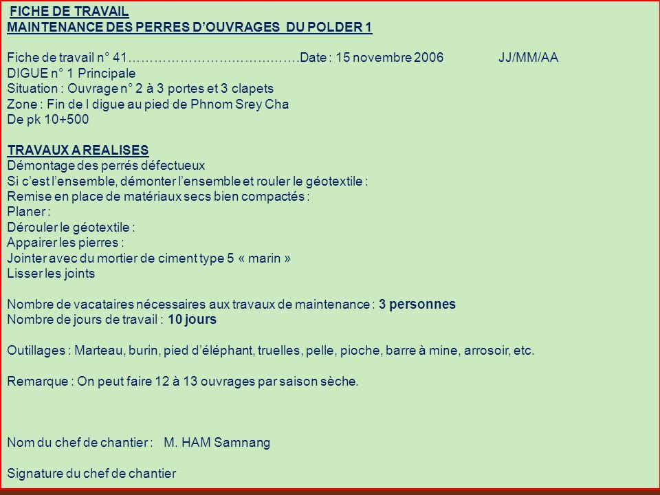 FICHE DE TRAVAIL MAINTENANCE DES PERRES DOUVRAGES DU POLDER 1 Fiche de travail n° 41………………………………….Date : 15 novembre 2006 JJ/MM/AA DIGUE n° 1 Principa