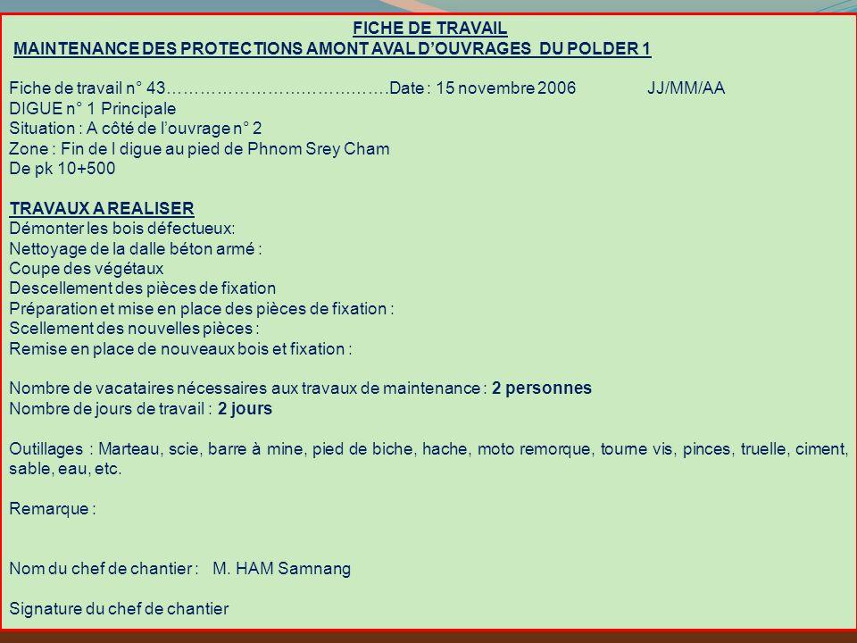 FICHE DE TRAVAIL MAINTENANCE DES PROTECTIONS AMONT AVAL DOUVRAGES DU POLDER 1 Fiche de travail n° 43………………………………….Date : 15 novembre 2006 JJ/MM/AA DIG