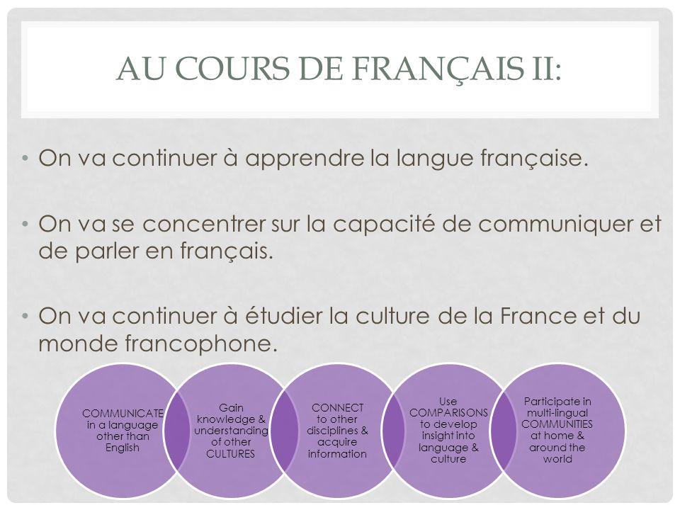 AU COURS DE FRANÇAIS II: On va continuer à apprendre la langue française.