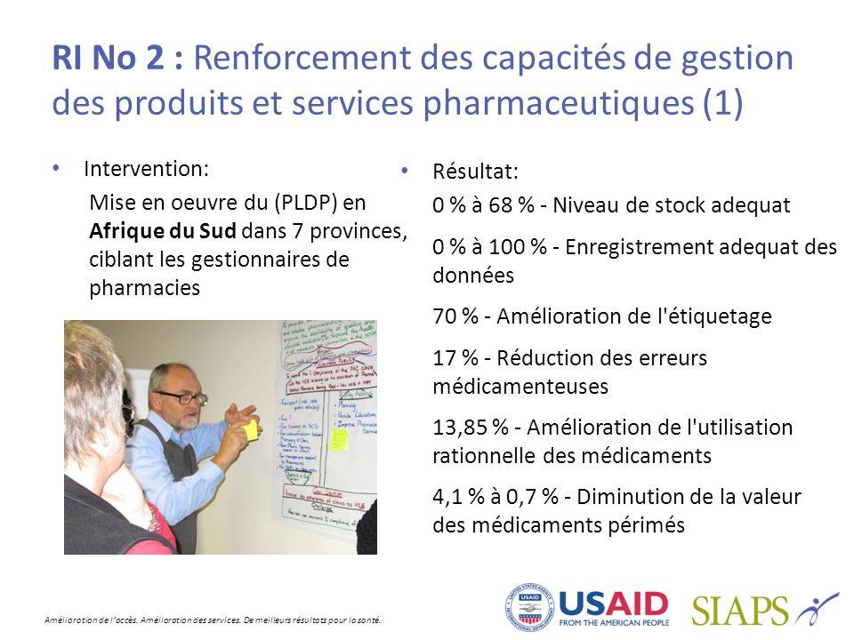 Amélioration de laccès. Amélioration des services. De meilleurs résultats pour la santé. RI No 2 : Renforcement des capacités de gestion des produits