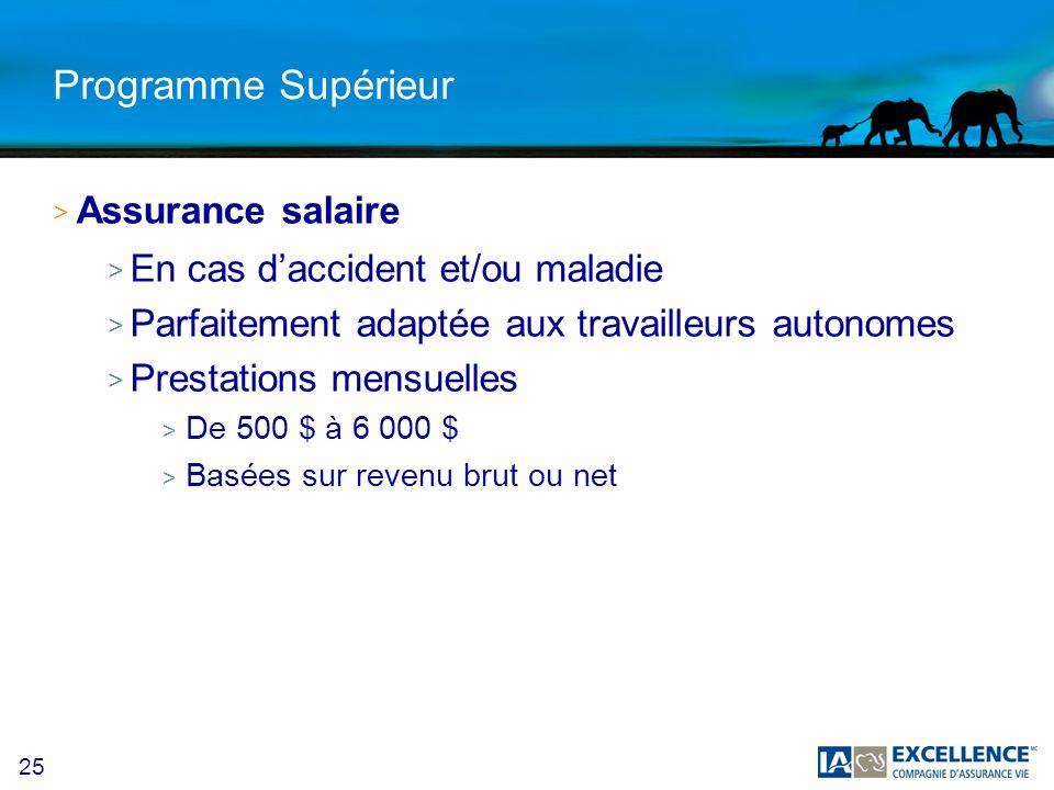 25 Programme Supérieur > Assurance salaire > En cas daccident et/ou maladie > Parfaitement adaptée aux travailleurs autonomes > Prestations mensuelles