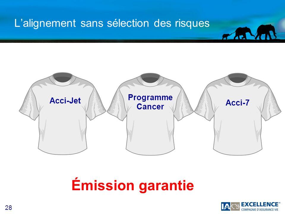 28 Lalignement sans sélection des risques Émission garantie Acci-Jet Programme Cancer Acci-7