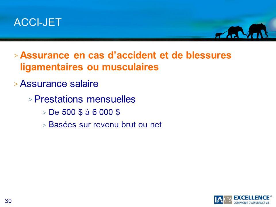30 ACCI-JET > Assurance en cas daccident et de blessures ligamentaires ou musculaires > Assurance salaire > Prestations mensuelles > De 500 $ à 6 000 $ > Basées sur revenu brut ou net