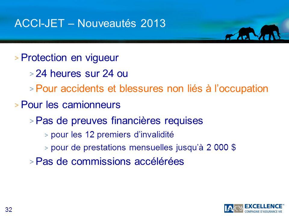 32 ACCI-JET – Nouveautés 2013 > Protection en vigueur > 24 heures sur 24 ou > Pour accidents et blessures non liés à loccupation > Pour les camionneur