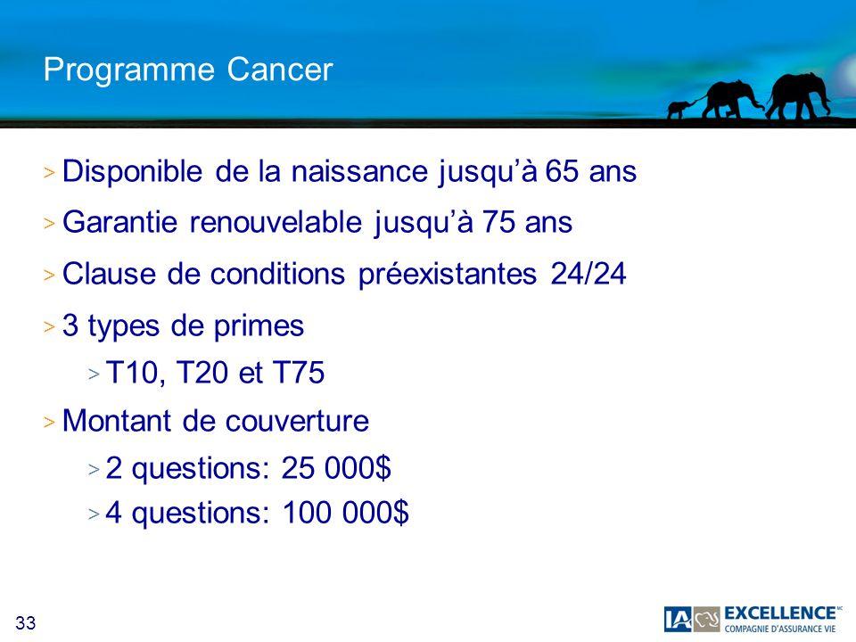 33 Programme Cancer > Disponible de la naissance jusquà 65 ans > Garantie renouvelable jusquà 75 ans > Clause de conditions préexistantes 24/24 > 3 types de primes > T10, T20 et T75 > Montant de couverture > 2 questions: 25 000$ > 4 questions: 100 000$