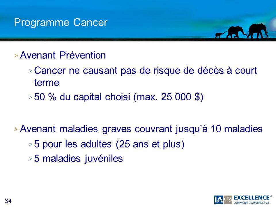 34 Programme Cancer > Avenant Prévention > Cancer ne causant pas de risque de décès à court terme > 50 % du capital choisi (max. 25 000 $) > Avenant m