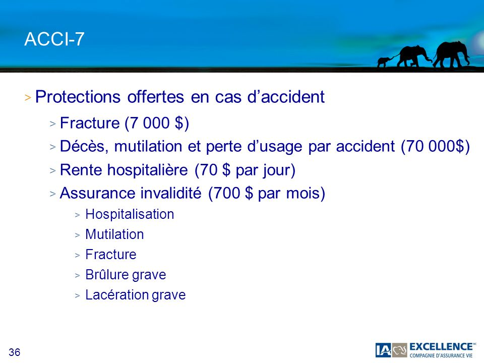 36 ACCI-7 > Protections offertes en cas daccident > Fracture (7 000 $) > Décès, mutilation et perte dusage par accident (70 000$) > Rente hospitalière (70 $ par jour) > Assurance invalidité (700 $ par mois) > Hospitalisation > Mutilation > Fracture > Brûlure grave > Lacération grave