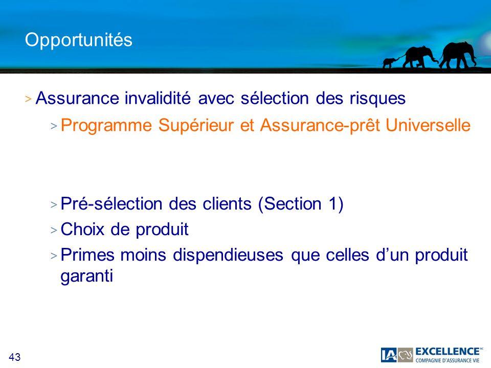 43 Opportunités >A>Assurance invalidité avec sélection des risques >P>Programme Supérieur et Assurance-prêt Universelle > Pré-sélection des clients (Section 1) > Choix de produit > Primes moins dispendieuses que celles dun produit garanti