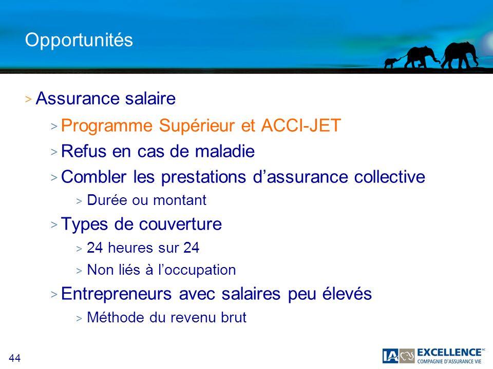 44 Opportunités >A>Assurance salaire >P>Programme Supérieur et ACCI-JET >R>Refus en cas de maladie >C>Combler les prestations dassurance collective >D