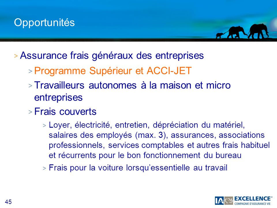 45 Opportunités >A>Assurance frais généraux des entreprises >P>Programme Supérieur et ACCI-JET >T>Travailleurs autonomes à la maison et micro entrepri