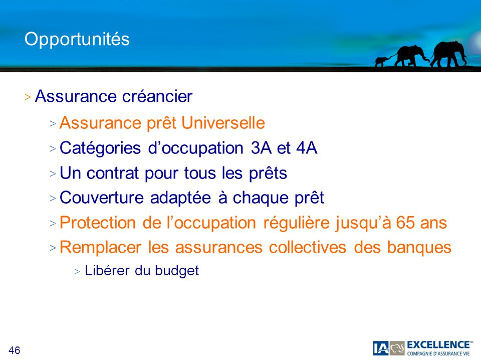 46 Opportunités >A>Assurance créancier >A>Assurance prêt Universelle >C>Catégories doccupation 3A et 4A >U>Un contrat pour tous les prêts >C>Couvertur
