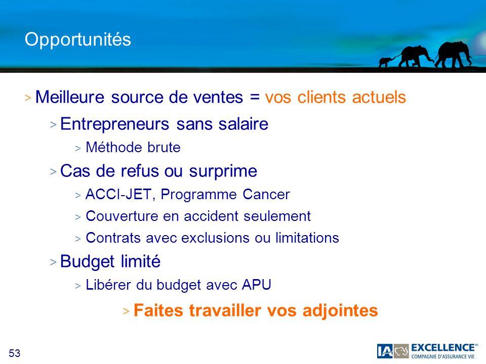 53 Opportunités > Meilleure source de ventes = vos clients actuels > Entrepreneurs sans salaire > Méthode brute > Cas de refus ou surprime > ACCI-JET,