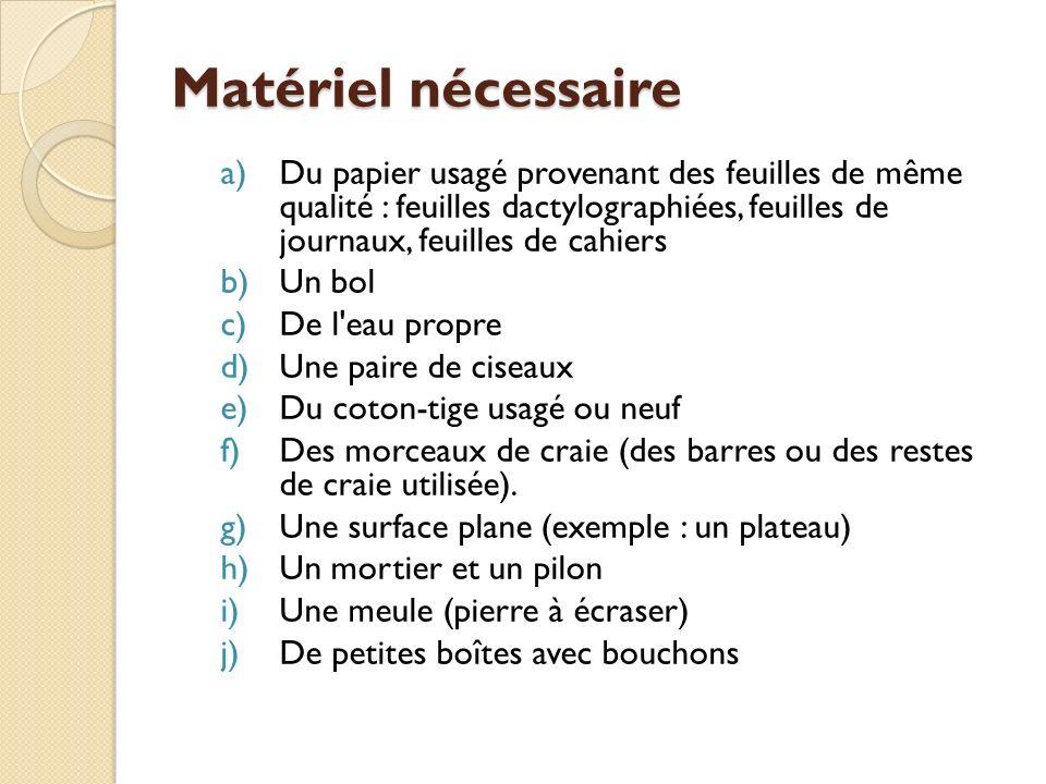 Matériel nécessaire a)Du papier usagé provenant des feuilles de même qualité : feuilles dactylographiées, feuilles de journaux, feuilles de cahiers b)